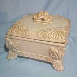 Ornate Distressed Trinket Box w/ Lid and Legs